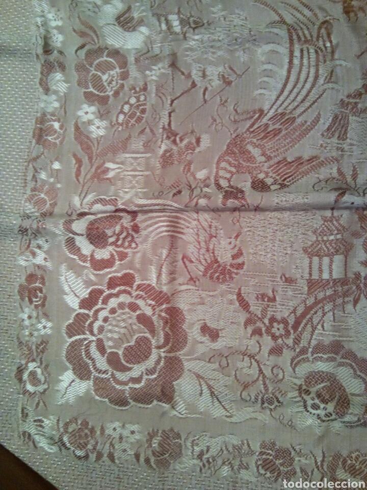 Antigüedades: * ANTIGUA COLCHA DE SEDA BROCADA DOBLE CARA. (Rf:V10/c) - Foto 4 - 100353950