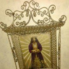 Antigüedades: ANTIGUA IMAGEN DEL CRISTO DE MEDINACELI EN ELEBORADO MARCO METALICO - VER FOTOS. Lote 76734095