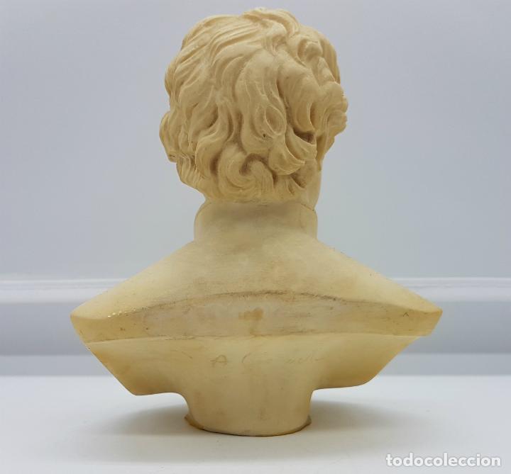 Antigüedades: Busto antiguo del famoso poeta Johann Wolfgang von Goethe,tallado y firmado por A. Giannelli . - Foto 3 - 211436656