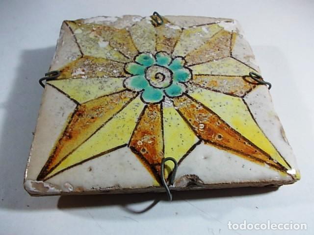 Antigüedades: ANTIGUO AZULEJO ROSA DE LOS VIENTOS VALENCIANO XVII - Foto 2 - 76848467