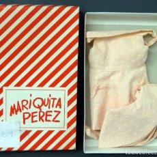 Reediciones Muñecas Españolas: MARIQUITA PÉREZ CONJUNTO VESTIDO SALMÓN TOPOS CON GORRO REEDICIÓN 1998 TAMAÑO GRANDE CON CAJA. Lote 76860903