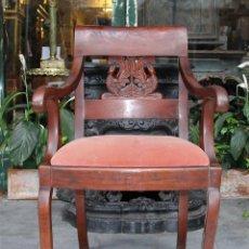 Antigüedades: SILLÓN IMPERIO. MADERA DE CAOBA. ESPAÑA. CIRCA 1820.. Lote 76861283