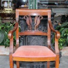 Antigüedades: SILLÓN IMPERIO. MADERA DE CAOBA. ESPAÑA. CIRCA 1820.. Lote 76873715