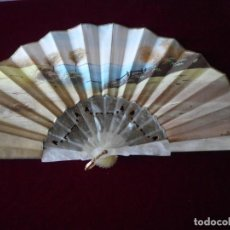 Antigüedades: ABANICO DE NACARINA BLANCO. Lote 76874203