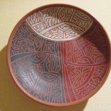 Antigüedades: PLATO DECORADO DE BARRO FIRMADO 17 CENTIMETROS DE DIAMETRO. Lote 76935321