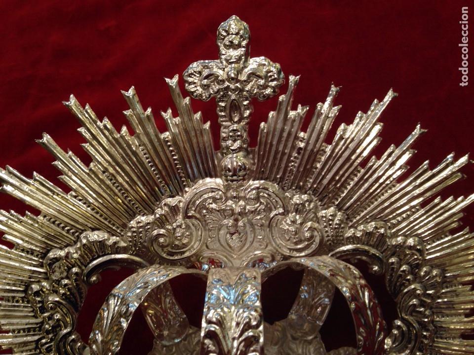 Antigüedades: Corona de Virgen con baño de plata (nuevo) 11 cm de diámetro. - Foto 3 - 155246770