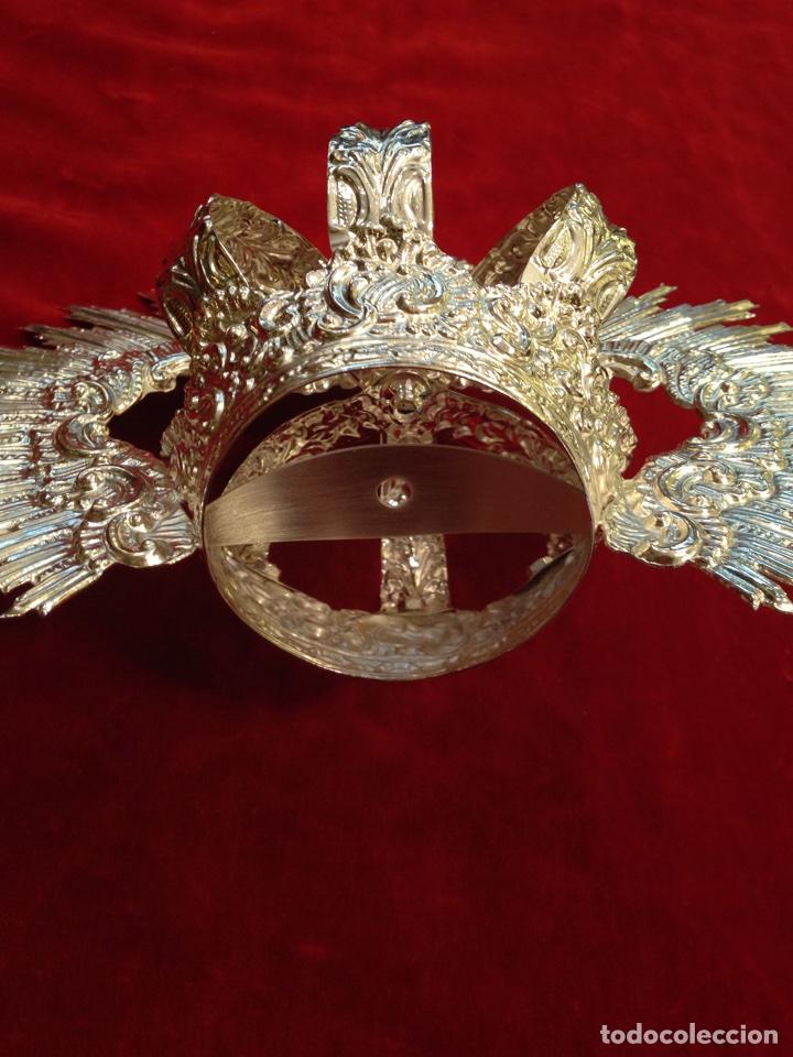 Antigüedades: Corona de Virgen con baño de plata (nuevo) 11 cm de diámetro. - Foto 4 - 155246770