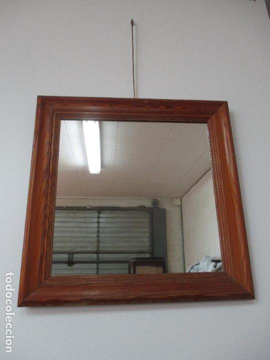 Antiguo espejo cuadrado marco de madera pin comprar - Espejos marco madera ...