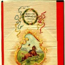 Antigüedades: BANDA DE SEDA PINTADA CONMEMORATIVA DEL CONCURSO HÍPICO DE MERCADAL (MENORCA), EN 1906.. Lote 76969977