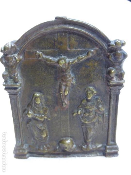 Antigüedades: ANTIGUO PORTAPAZ PLACA DEVOCIONAL-BRONCE-RENACENTISTA-MUERTE DE CRISTO-ESTIPITES-ORIGINAL S. XVI - Foto 2 - 76970313