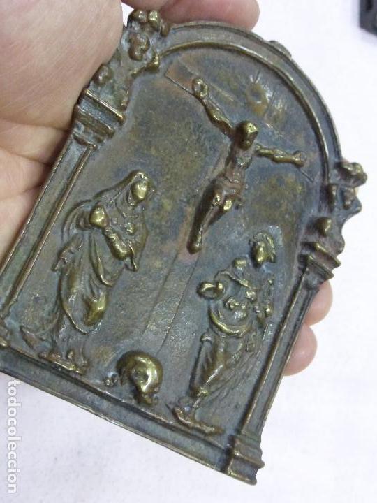 Antigüedades: ANTIGUO PORTAPAZ PLACA DEVOCIONAL-BRONCE-RENACENTISTA-MUERTE DE CRISTO-ESTIPITES-ORIGINAL S. XVI - Foto 4 - 76970313