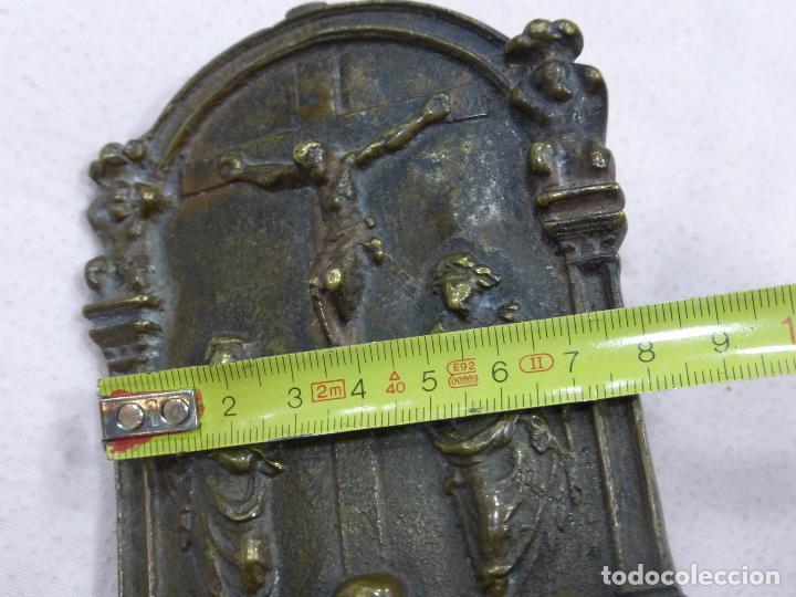 Antigüedades: ANTIGUO PORTAPAZ PLACA DEVOCIONAL-BRONCE-RENACENTISTA-MUERTE DE CRISTO-ESTIPITES-ORIGINAL S. XVI - Foto 9 - 76970313