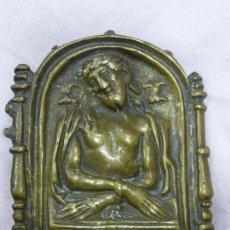 Antigüedades: ANTIGUO PORTAPAZ PLACA BRONCE-RENACENTISTA-CRISTO MANIATADO PRESENTADO A PILATOS - ORIGINAL S. XVI. Lote 76971529