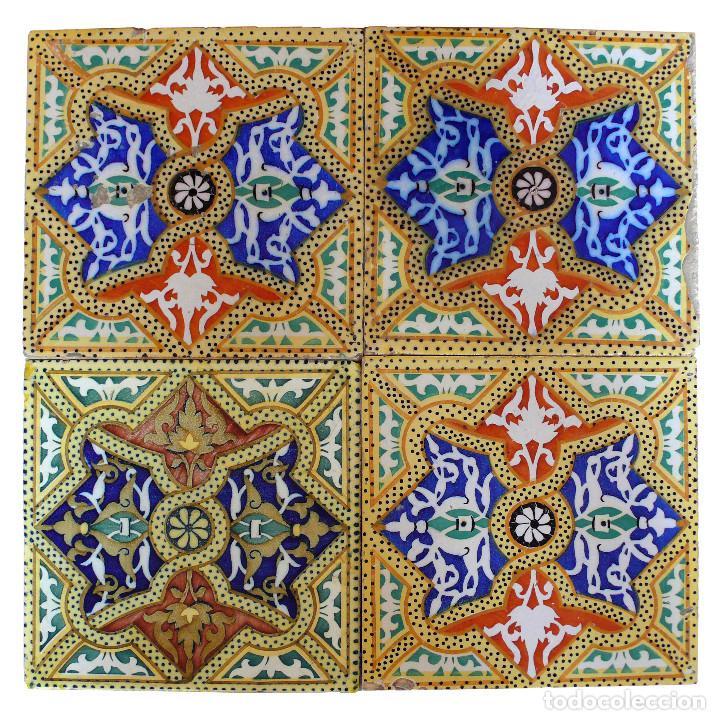 Cuatro Baldosas Azulejos Modernistas Antiguas O Comprar Azulejos - Azulejos-originales
