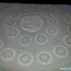 Antigüedades: ANTIGUO MANTEL DE TELA Y GANCHILLO-HECHO A MANO-160 CM. Lote 77112161