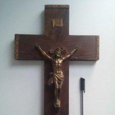 Antigüedades: CRUZ DE MADERA, CON CRISTO EN BRONCE. Lote 77124537