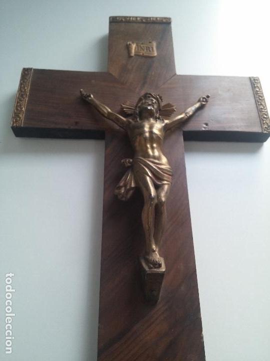 Antigüedades: CRUZ DE MADERA, CON CRISTO EN BRONCE - Foto 3 - 77124537