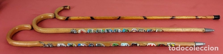 Antigüedades: CONJUNTO DE 3 BASTONES. MADERA DE BOJ(?) AUSTRIA. CIRCA 1970. - Foto 2 - 77224681