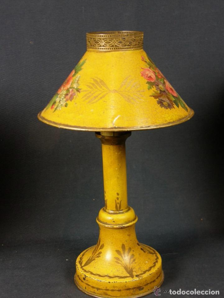 Antigüedades: lámpara tôle, chapa de hojalata policromada,decoración floral, palmetas en la base.Muy coqueta - Foto 2 - 77228709