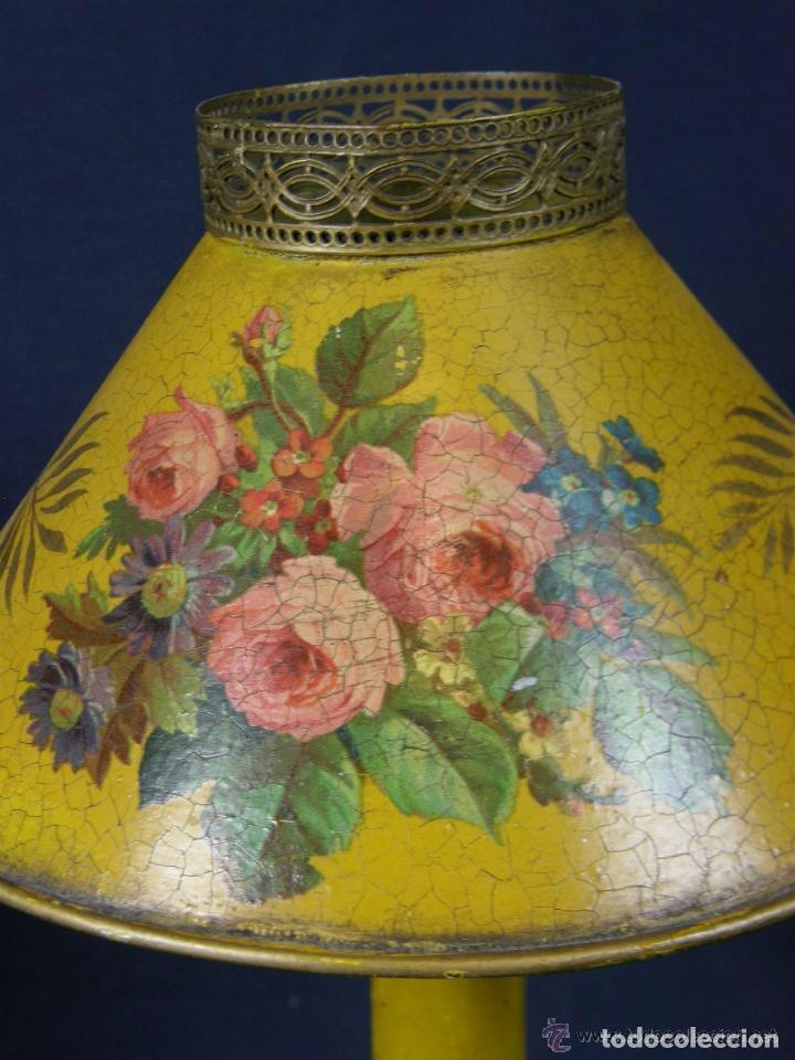 Antigüedades: lámpara tôle, chapa de hojalata policromada,decoración floral, palmetas en la base.Muy coqueta - Foto 5 - 77228709