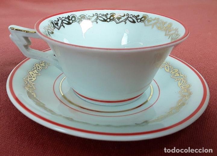 Antigüedades: JUEGO DE CAFÉ. PORCELANA. ESMALTADA. JÄGER. ALEMANIA. CIRCA 1950. - Foto 13 - 77283021