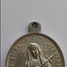 Antigüedades: MEDALLA DE MADRE DEL DOLOR , JERUSALEN, DOLOROSA Y CRISTO SALVADOR DEL MUNDO DE 4 X 3 CMS. Lote 77307865