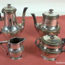 Antigüedades: JUEGO DE CAFÉ. METAL PLATEADO. ESPAÑA. CIRCA 1950.. Lote 180095012