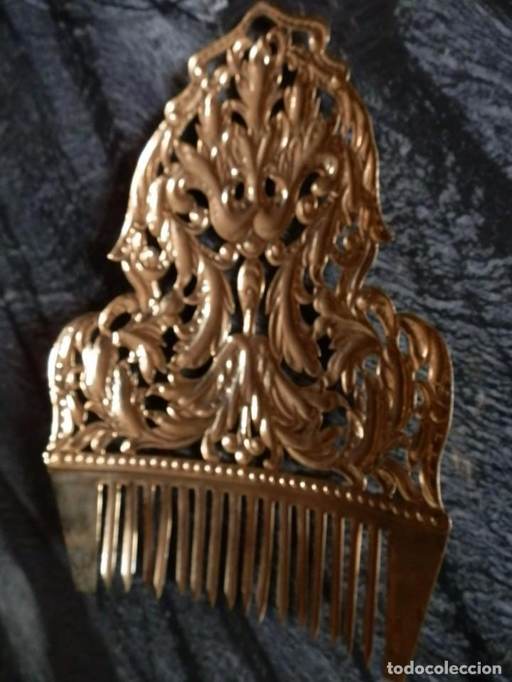 Antigüedades: JUEGO PEINETAS INDUMENTARIA FIESTAS VALENCIANA,AÑOS 50-60,LATON DORADO,ADULTA,MUY BUENA CONSERVACION - Foto 7 - 78774106