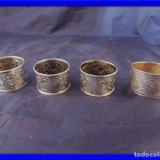 Antigüedades: SERVILLETEROS DE PLATA 800 ANTIGUOS FINAMENTE CINCELADOS. Lote 77432721