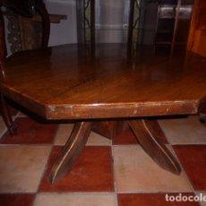 Antigüedades: ANTIGUA MESA DE CENTRO OCTOGONAL DE MADERA DE ROBLE. LIQUIDACION. . Lote 77441737