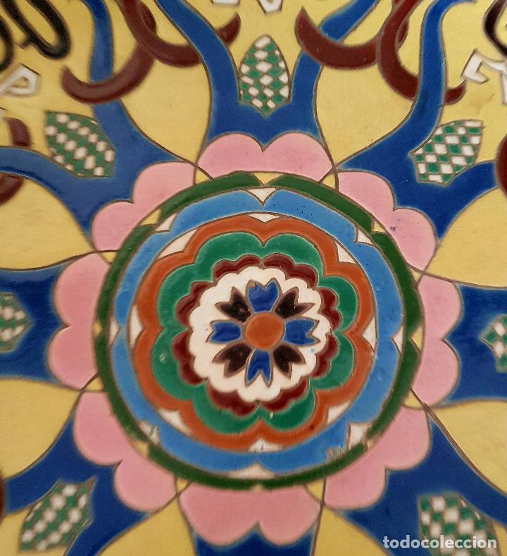 Antigüedades: ESPECTACULAR PLATO EN CUERDA SECA DE GRAN TAMAÑO EN CERAMICA DE TRIANA,(SEVILLA),S. XIX - Foto 6 - 77457721