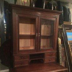 magnifico escritorio con vitrina, frances, nogal s.xix