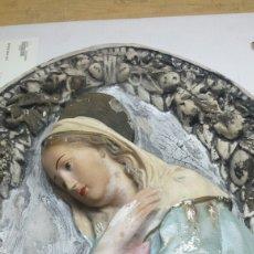 Antigüedades: BENDITERA O AVE MARÍA EN MARMOLINA- ESCAYOLA DECORADA A MANO AÑOS 70. Lote 77569677