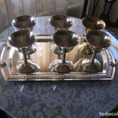 Antigüedades: 6 COPAS Y BANDEJA. COPAS VISIUC SA EPB SPAIN. Lote 77597969