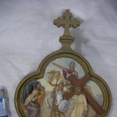 Antigüedades: ANTIGUA REPRESENTACION RELIGIOSA VIA CRUCIS ORIGINAL . Lote 77626229