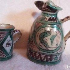 Antigüedades: ANTIGUA JARRA Y VASO CERÁMICA TERUEL, DOMINGO PUNTER. Lote 77628085