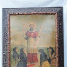 Antigüedades: GRAN MARCO ANTIGUO CON LÁMINA RELIGIOSA SAN ANTONIO.. Lote 77640245
