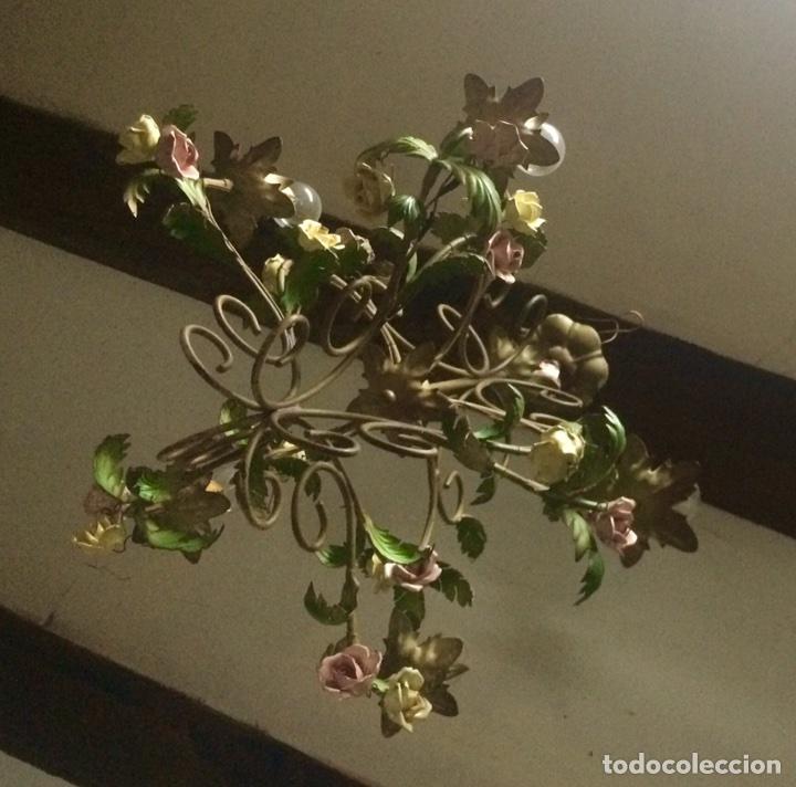 Antigüedades: Lampara de techo modernista Italiana de principios del XX, circa 1910. Motivos vegetales. - Foto 2 - 76064362
