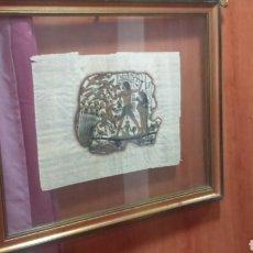 Antigüedades: PAPIRO EGIPCIO ENMARCADO EN PAN DE ORO, SELLO.. Lote 77750677