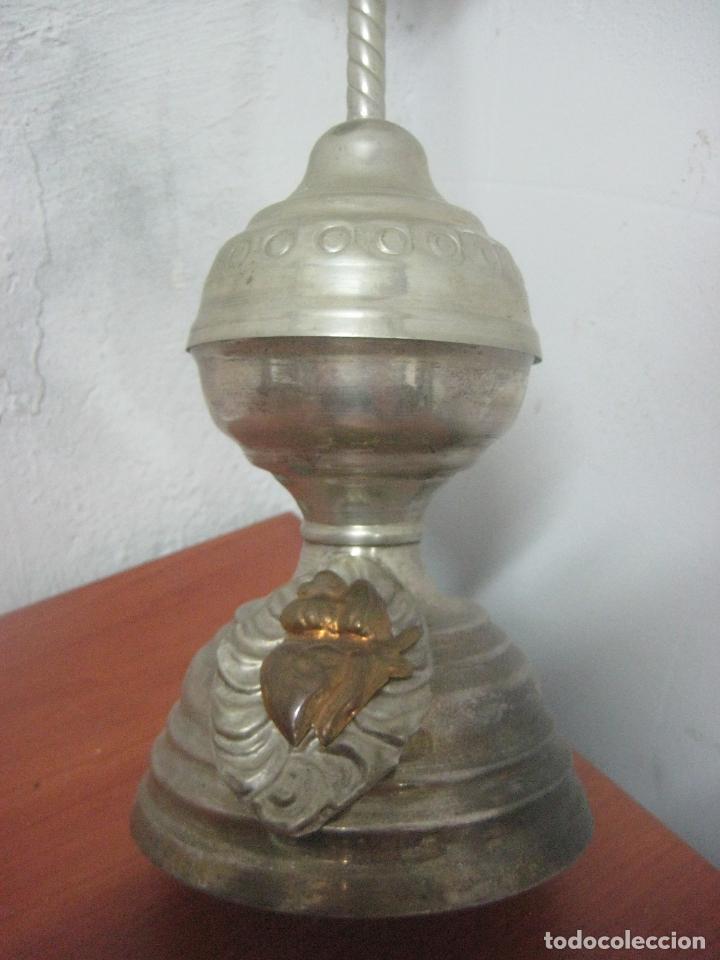 Antigüedades: BONITO CRUCIFIJO MODERNISTA HECHO COMPLETO EN ALPACA Y COBRE LABRADO 41 CMS, DATA DE 1900 - Foto 7 - 77809809