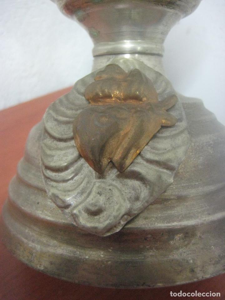 Antigüedades: BONITO CRUCIFIJO MODERNISTA HECHO COMPLETO EN ALPACA Y COBRE LABRADO 41 CMS, DATA DE 1900 - Foto 8 - 77809809