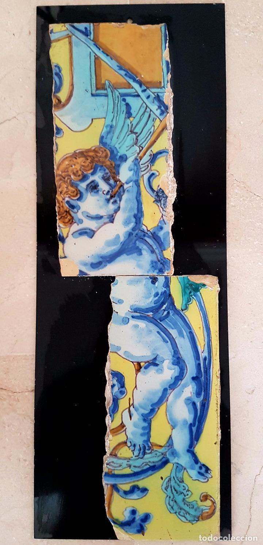 Antigüedades: PRECIOSA PAREJA DE AZULEJOS FRAGMENTADA EN CERAMICA DE TRIANA,(SEVILLA),S. XIX - Foto 2 - 77844829