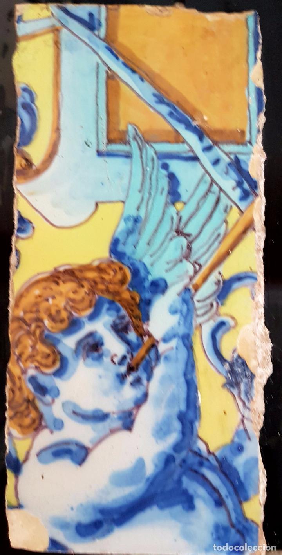 Antigüedades: PRECIOSA PAREJA DE AZULEJOS FRAGMENTADA EN CERAMICA DE TRIANA,(SEVILLA),S. XIX - Foto 4 - 77844829