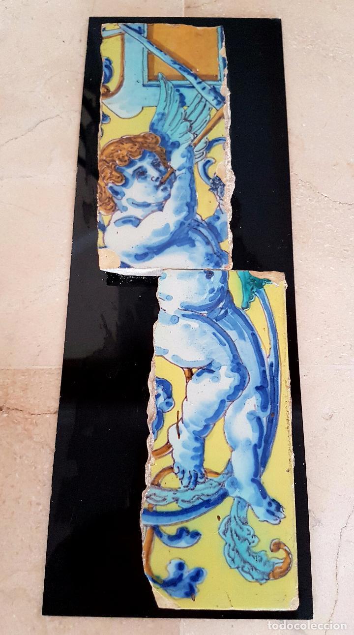 Antigüedades: PRECIOSA PAREJA DE AZULEJOS FRAGMENTADA EN CERAMICA DE TRIANA,(SEVILLA),S. XIX - Foto 6 - 77844829