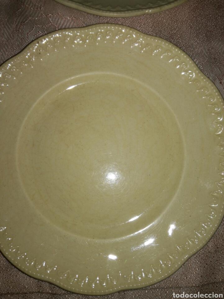 Antigüedades: 4 platos de postre porcelana opaca LCSJ - Foto 2 - 77923205