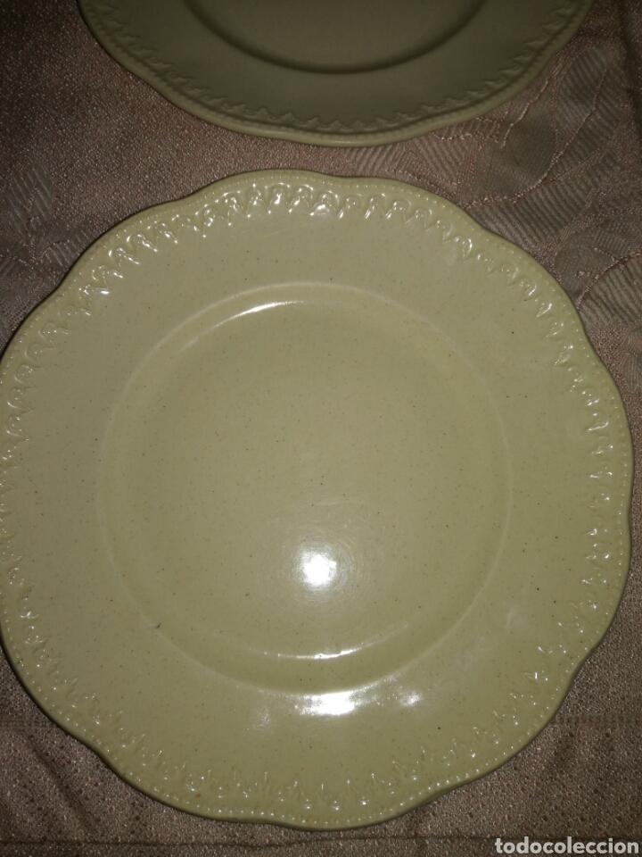 Antigüedades: 4 platos de postre porcelana opaca LCSJ - Foto 3 - 77923205