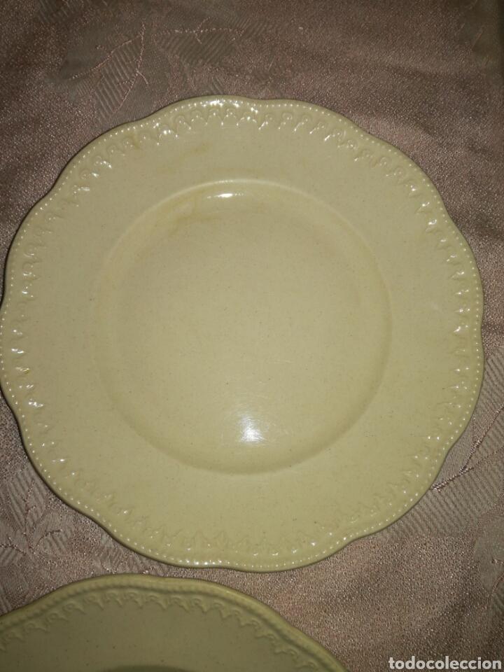 Antigüedades: 4 platos de postre porcelana opaca LCSJ - Foto 4 - 77923205