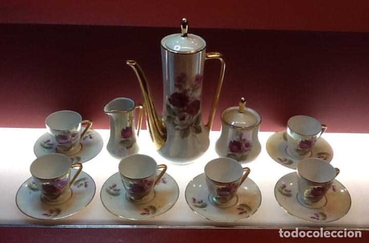 JUEGO DE TÉ / PORCELANA / MOTIVOS FLORALES / AÑOS 50 / (Antigüedades - Porcelanas y Cerámicas - Otras)