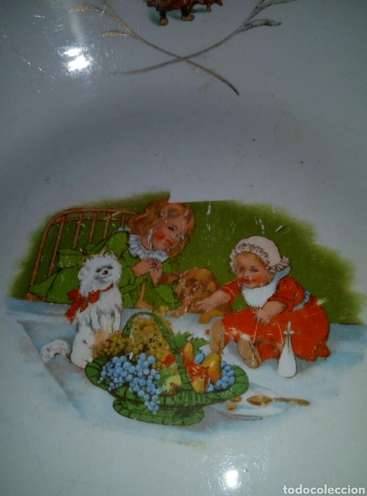 Antigüedades: Fuente plato porcelana San Claudio Oviedo. Años 30 infantil - Foto 2 - 77975110