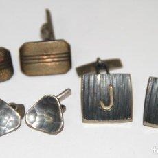 Antigüedades: LOTE DE 3 PAREJAS DE GEMELOS. DIFERENTES MATERIALES Y ÉPOCAS. ESPAÑA. Lote 78024305